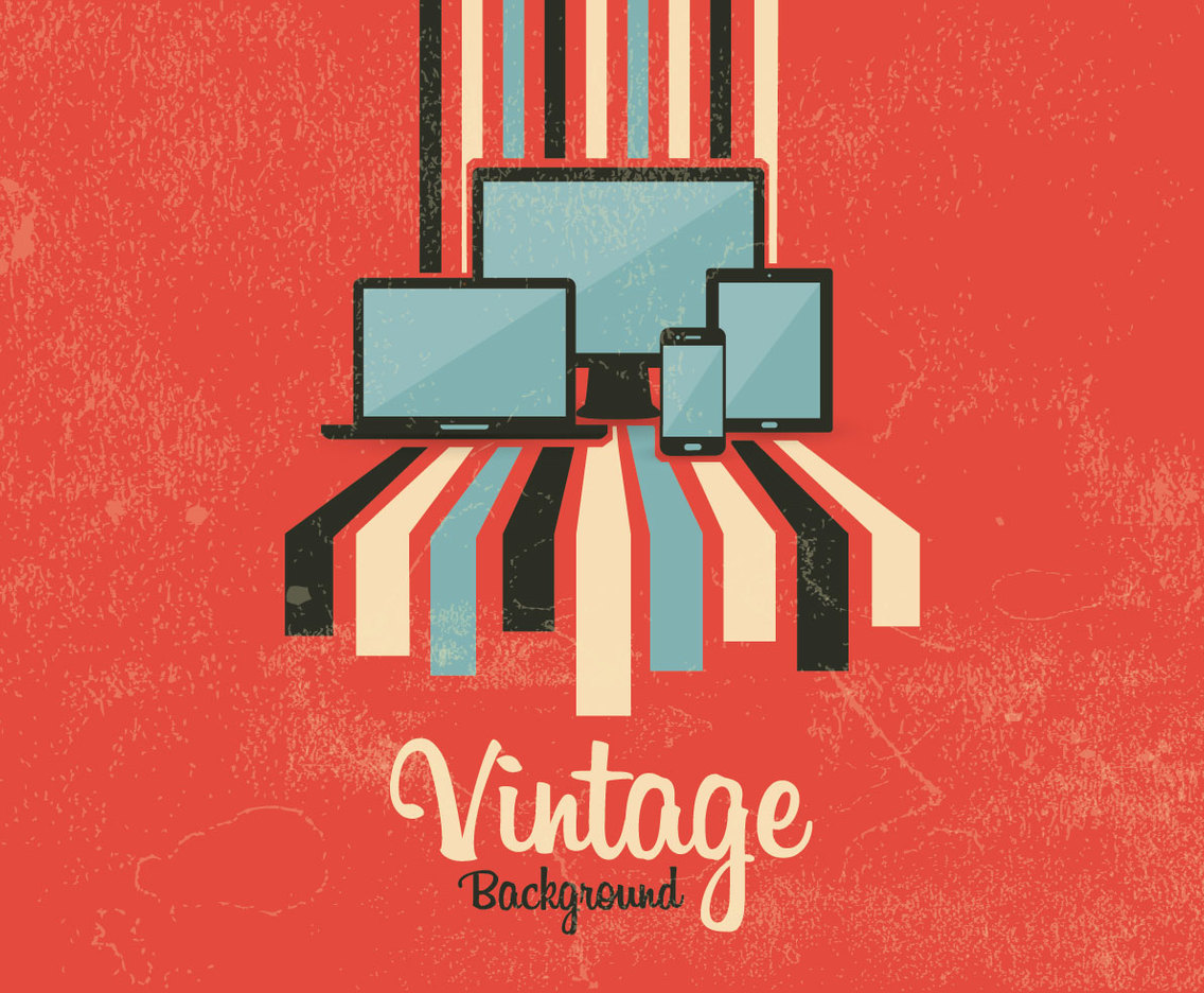 Vintage Tech Background Vector
