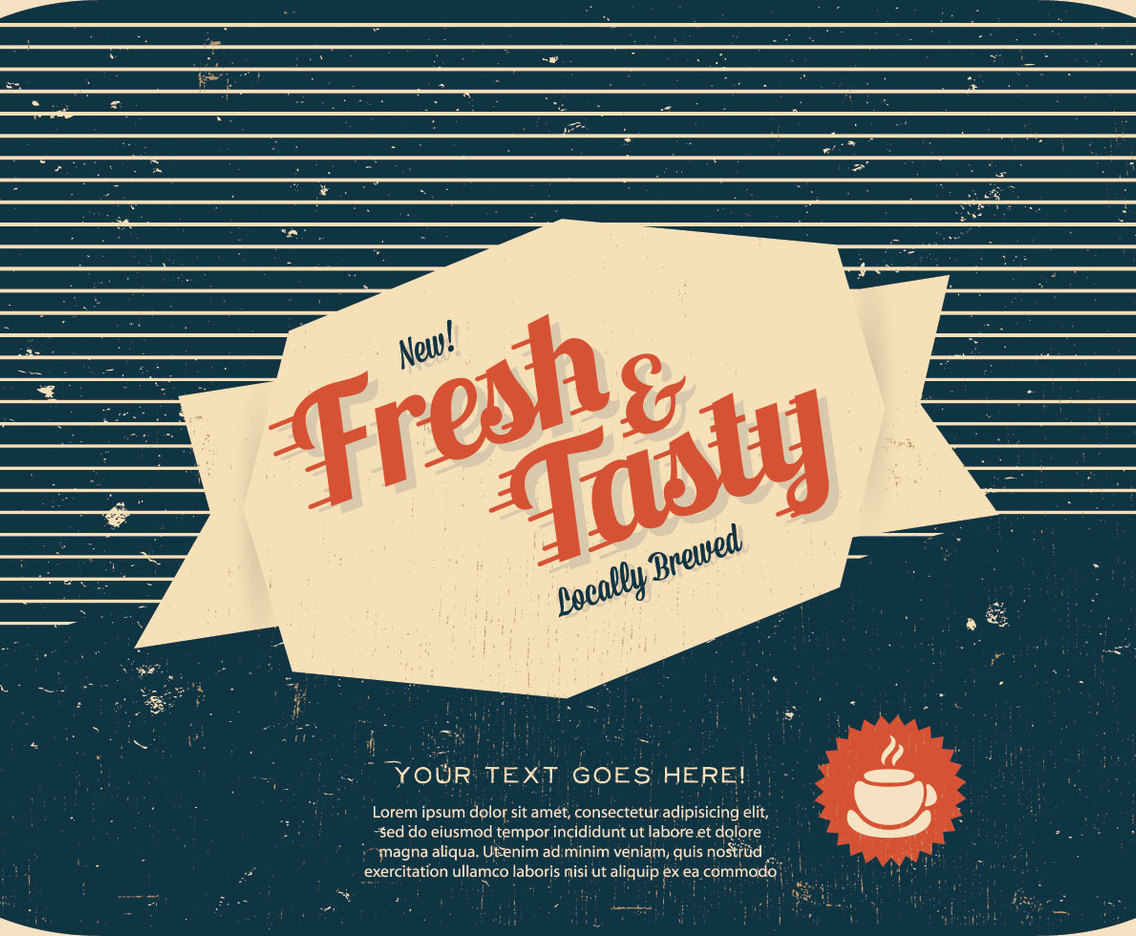 Fresh and Tasty Coffee Label Vector