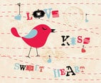 Love Kiss Sweetheart Bird Vector