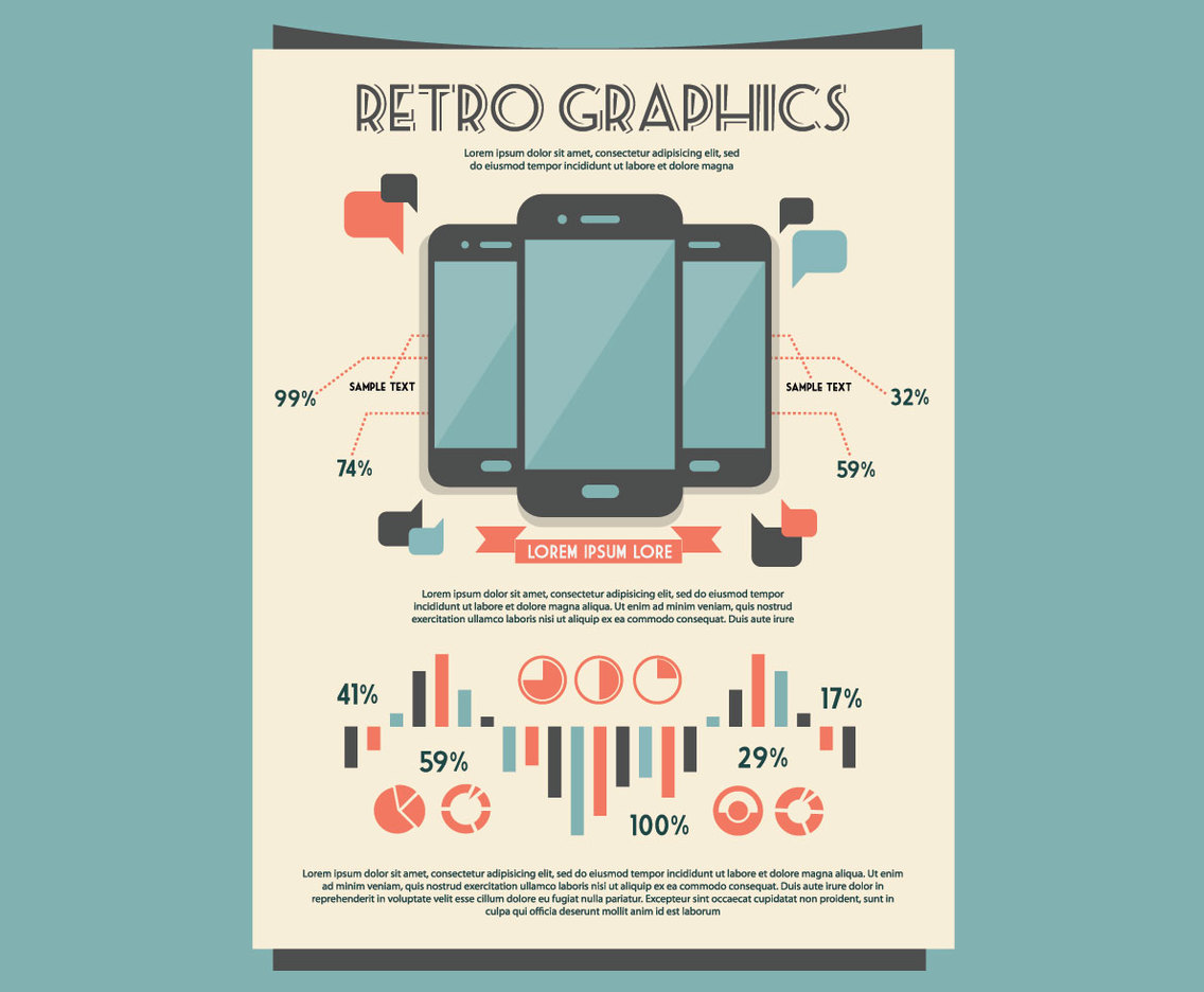 Retro Mobile Graphs and Tables Kit Vector