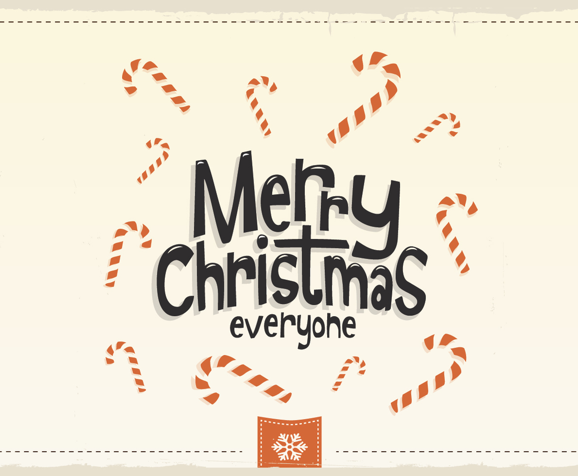 Merry Christmas Everyone Candy Cane Vector