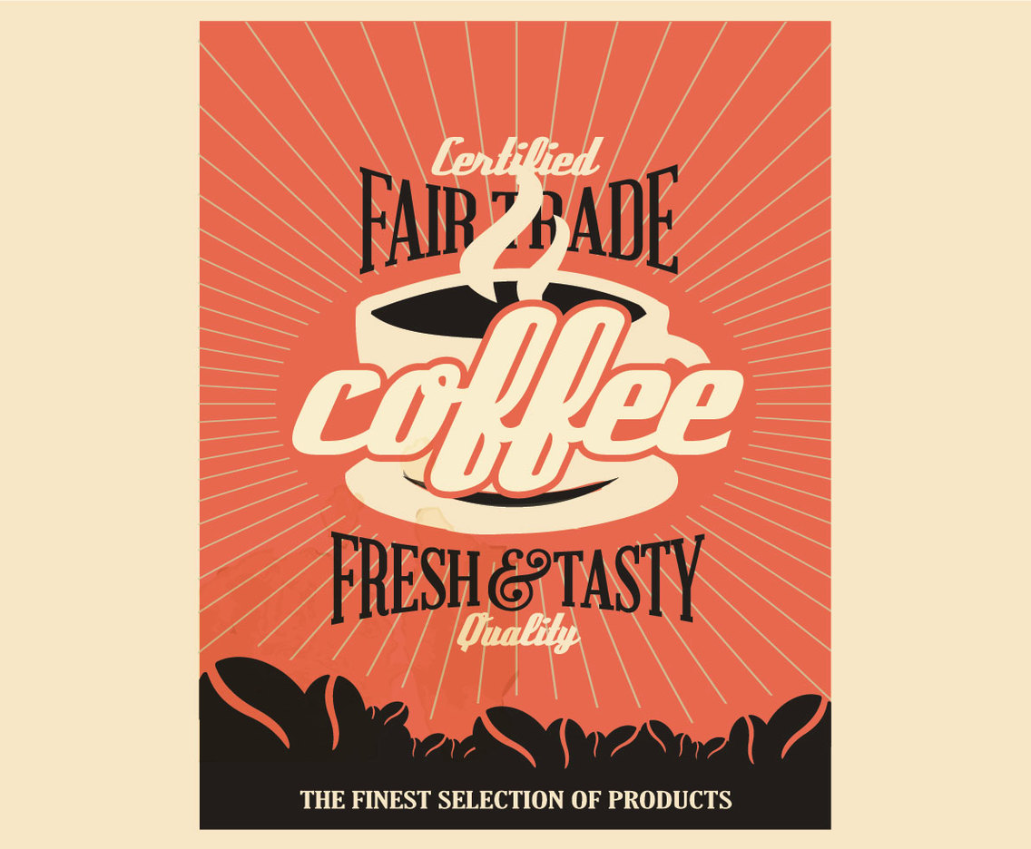 Fair Trade Coffee Vintage Poster