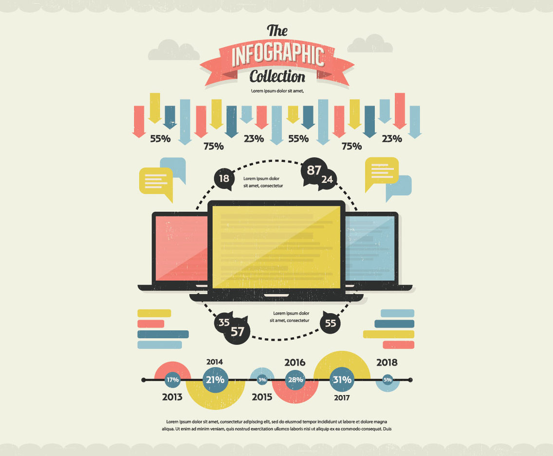 Classic Infographic Collection Vector