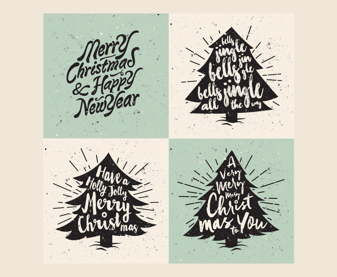 Retro Christmas Tree Lettering Vector Vector Art Graphics Freevector Com