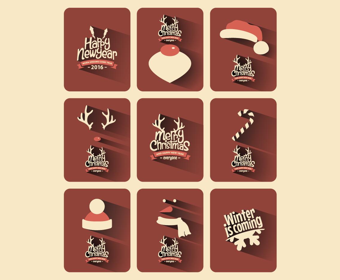 Rustic Christmas Card Collection Vector