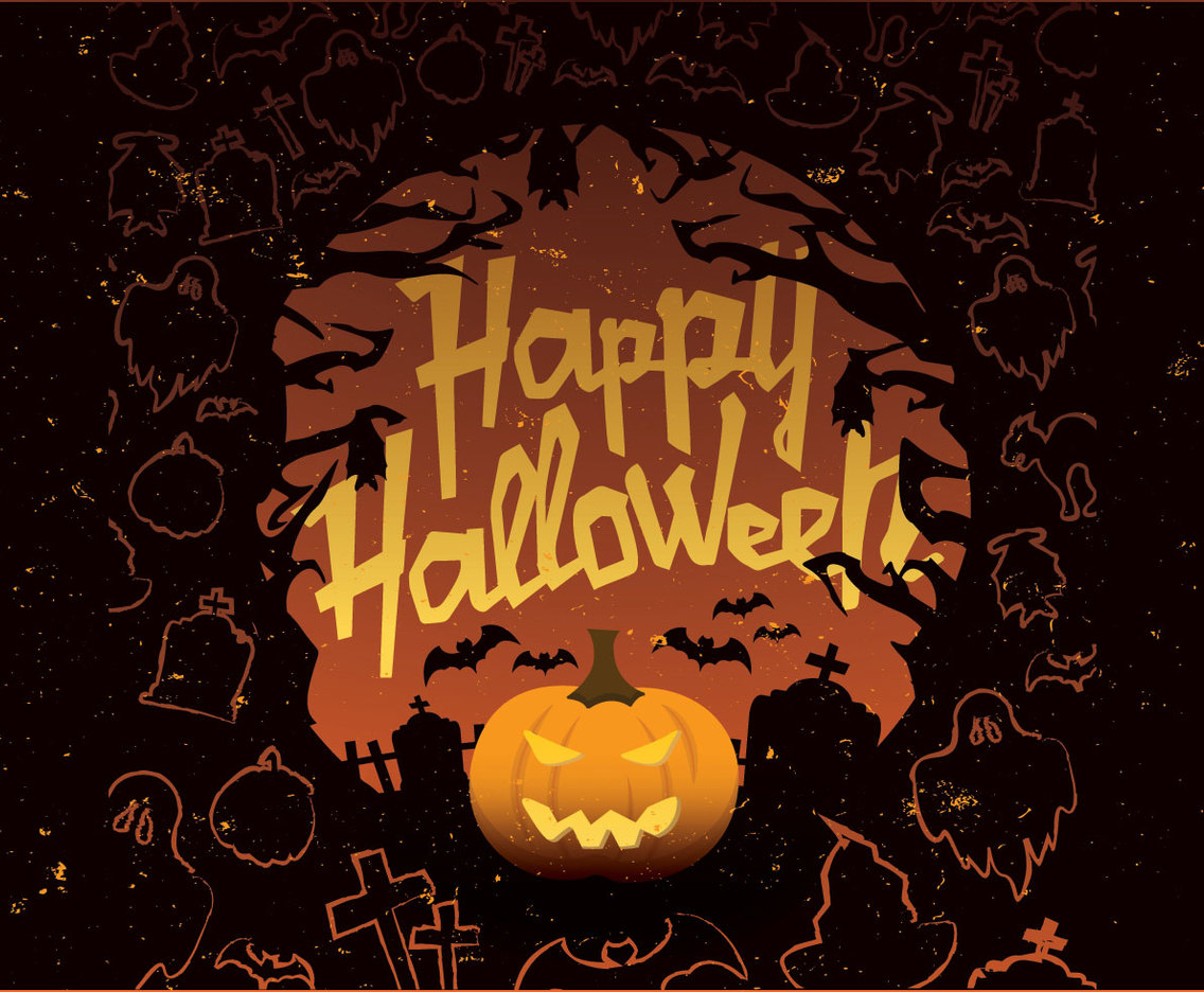 Happy Halloween Orange and Black Vector