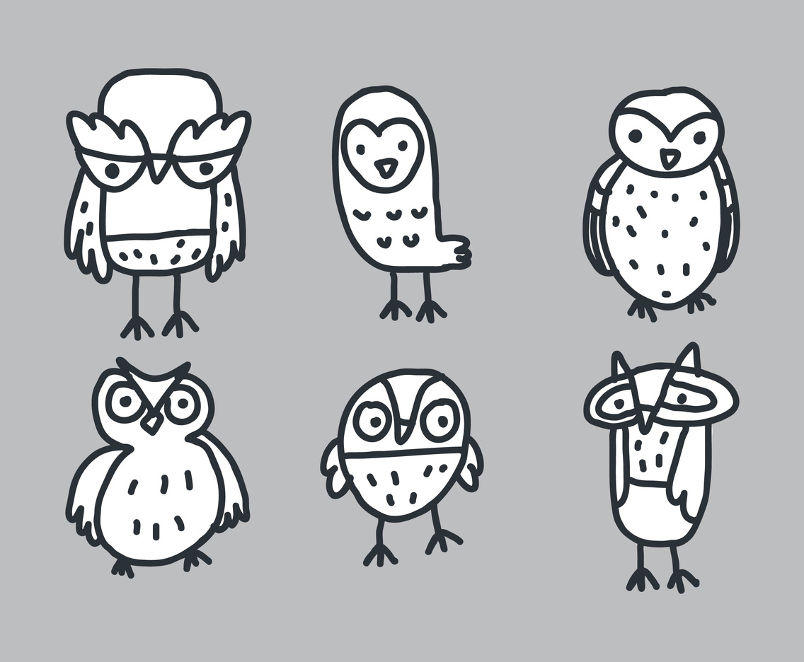 Free Hand Drawing Owl Vectors