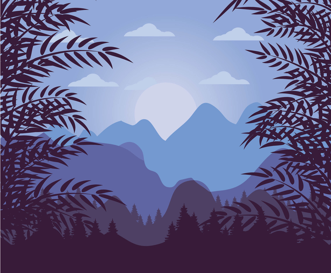 Blue Forest Background Vector