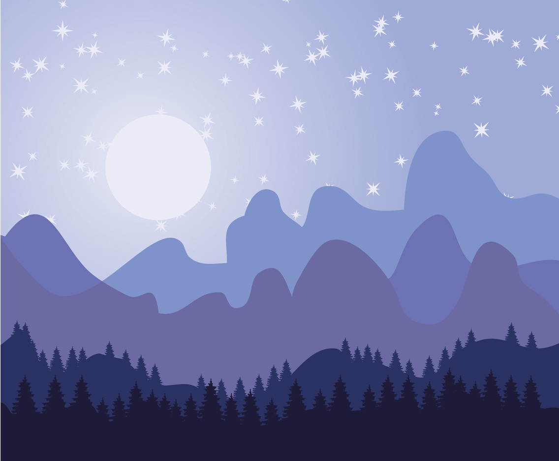 Starry Forest Background Vector