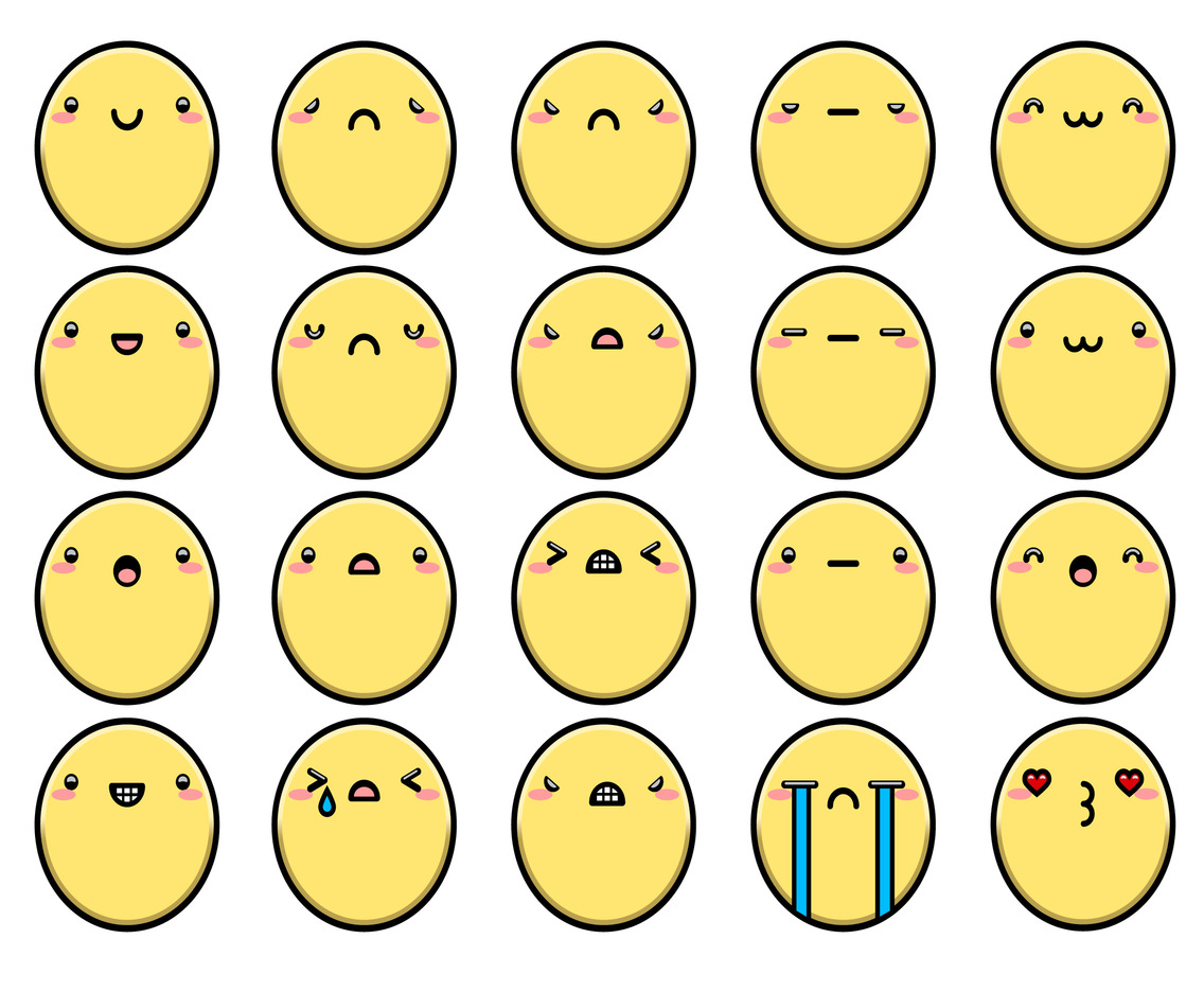 Vector Cute Faces With Different Expressions