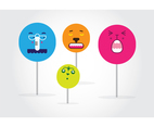 Free Cute Adorable Faces Lollipop Vector