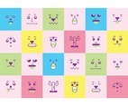Free Cute Adorable Faces Background Vector