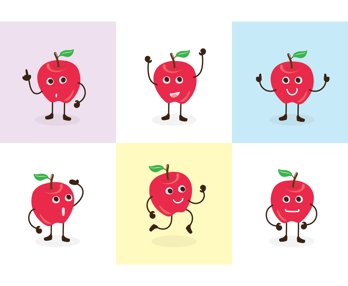 Free Red Apple Cute Cartoon Character Pose Vectors
