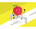 Free Red Apple Cute Cartoon Running Vector