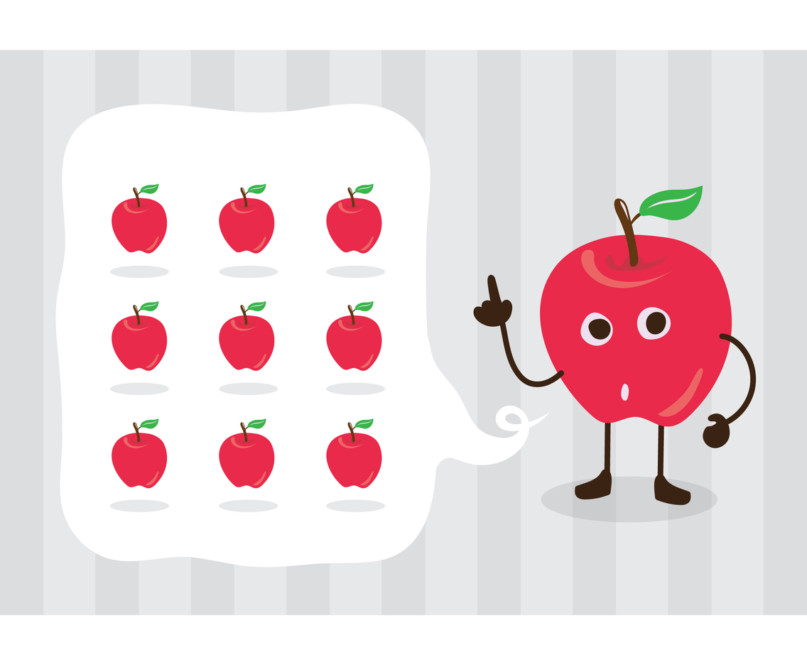 Free Red Apple Cute Cartoon Character Vector