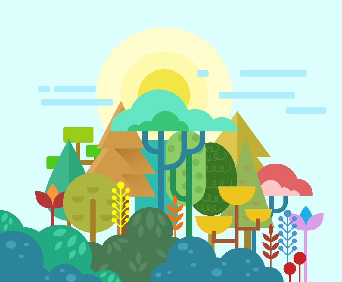 Colorful Forest Background Vector