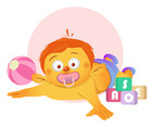 Baby Cartoon with Toy Blocks Vector
