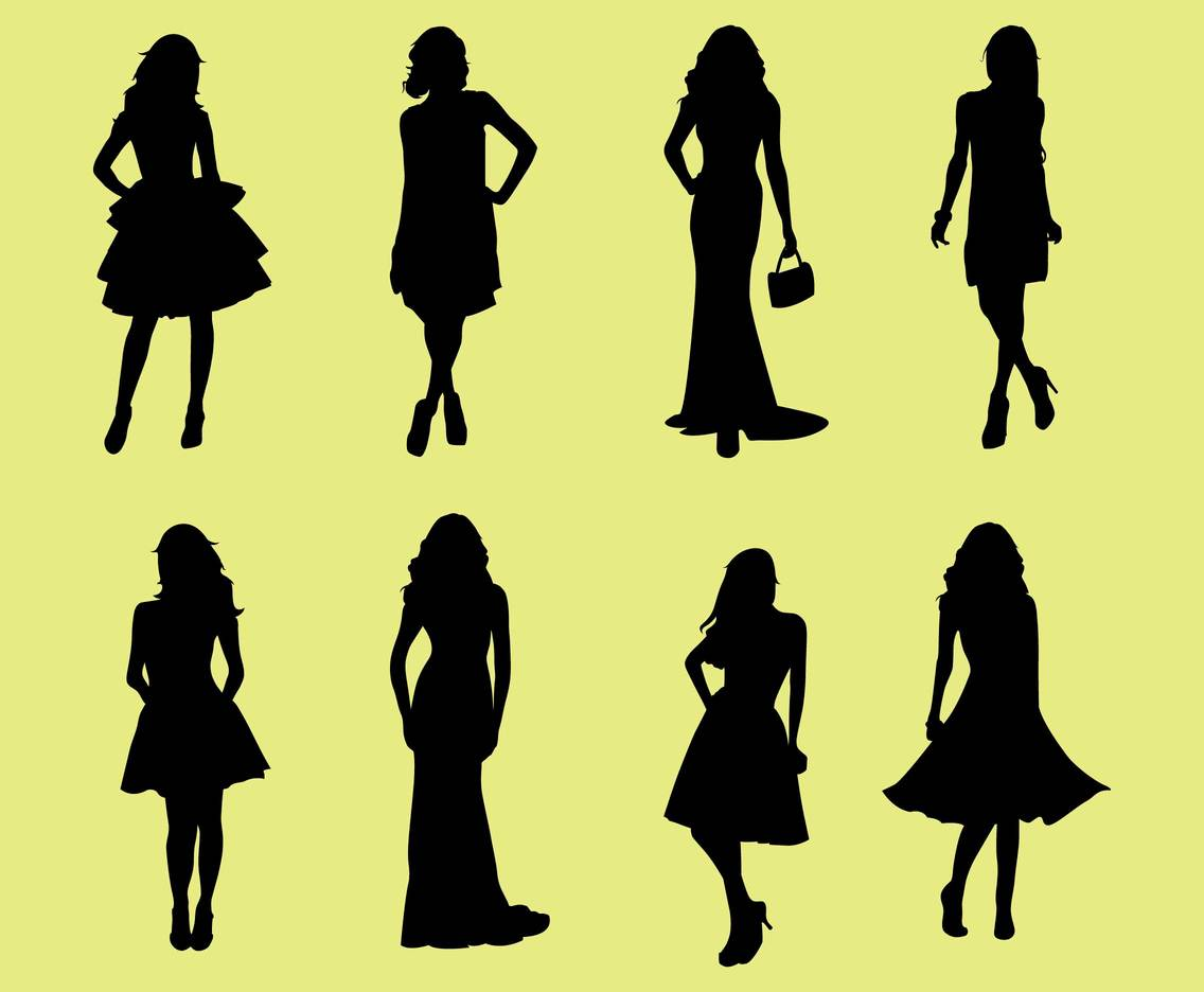 Woman in Dresses Silhouette Vectors