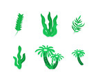 Six Green Seaweed Sticker