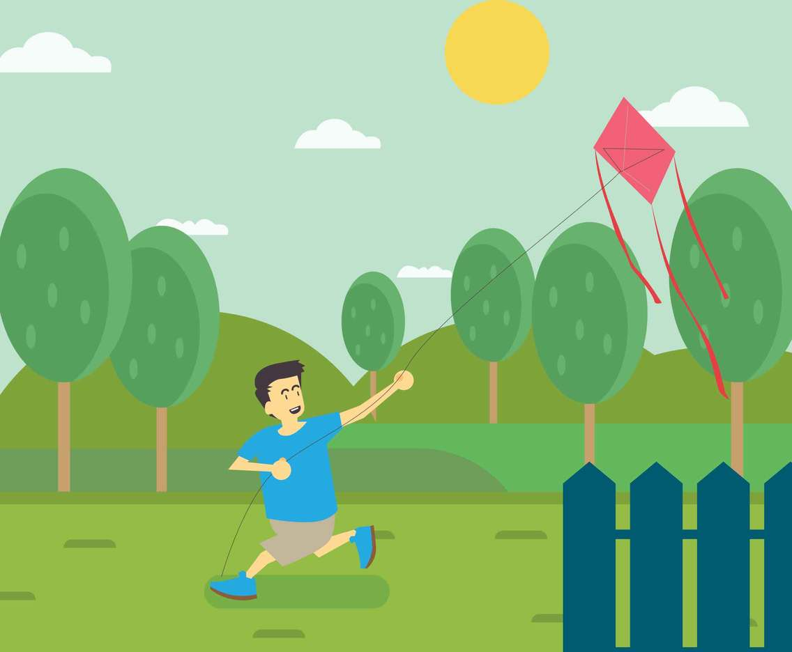 Boy Flying Kite Illustration