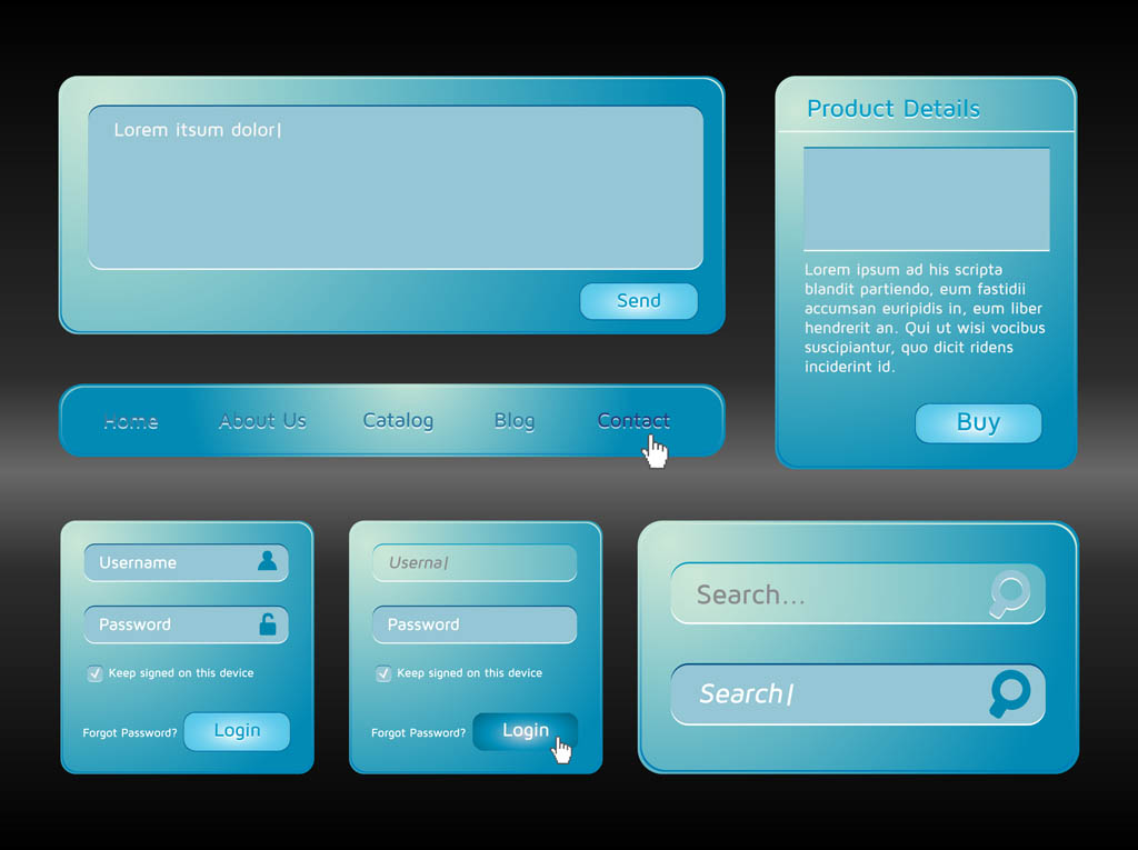 Blue Website Interface