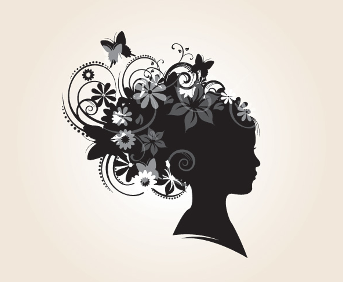 Floral Hairstyle Silhouette