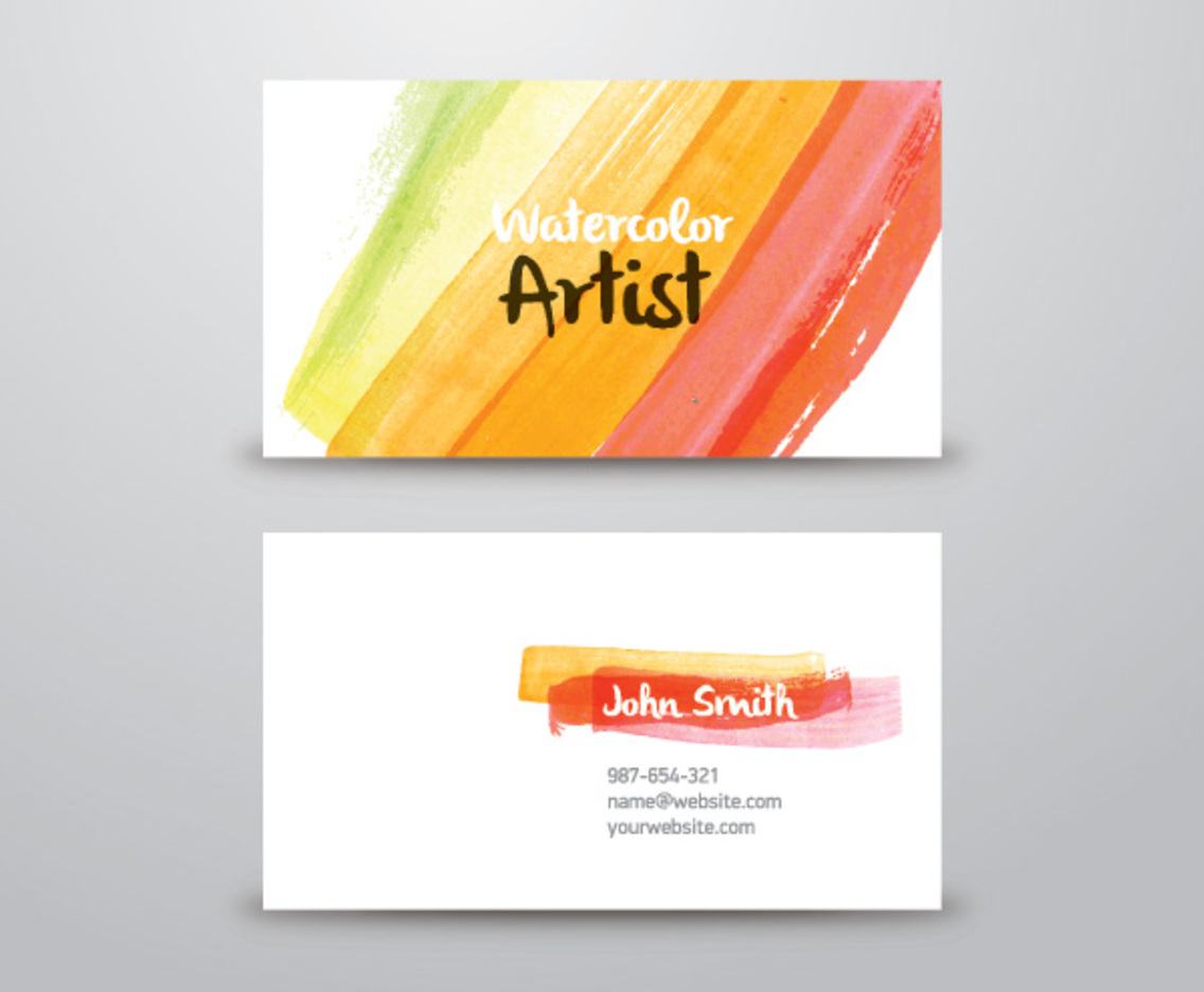 Watercolor artist business card vector art graphics freevector watercolor artist business card reheart Gallery