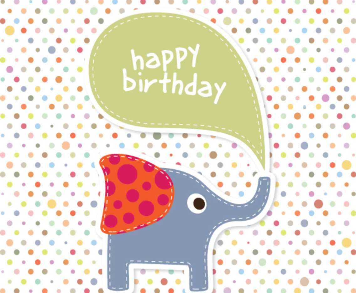 Elephant Birthday Card Vector Art Graphics