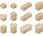Isometric Cardboard Box Vectors