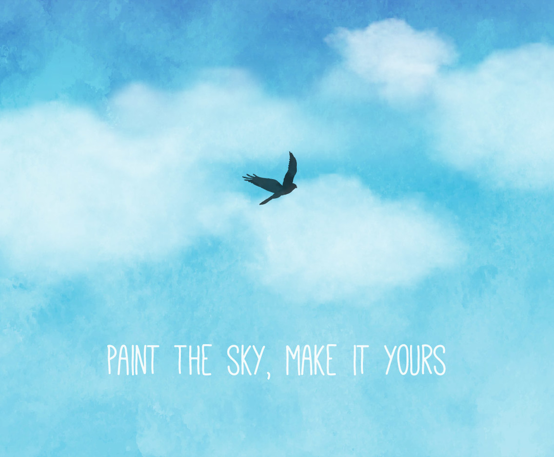 Blue Watercolor Sky And Clouds Background