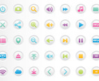 Colorful Media Player Buttons