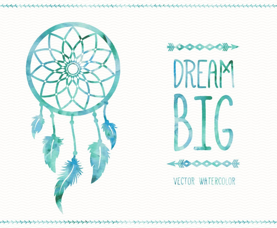 Watercolor dreamcatcher card vector art graphics for Dream catcher graphic