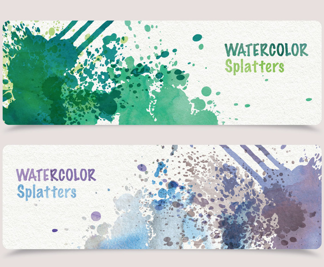 Watercolor Splatters Banners