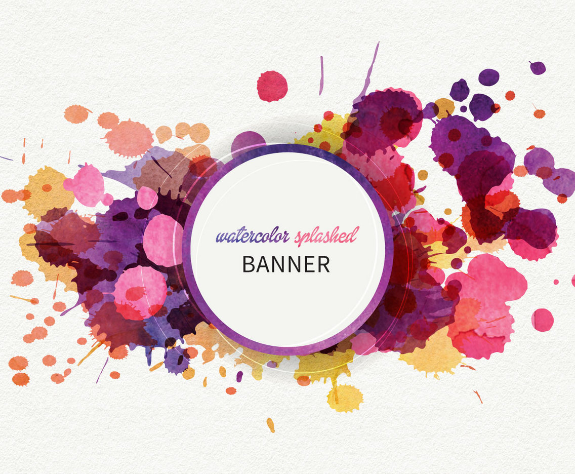Watercolor Splashed Banner