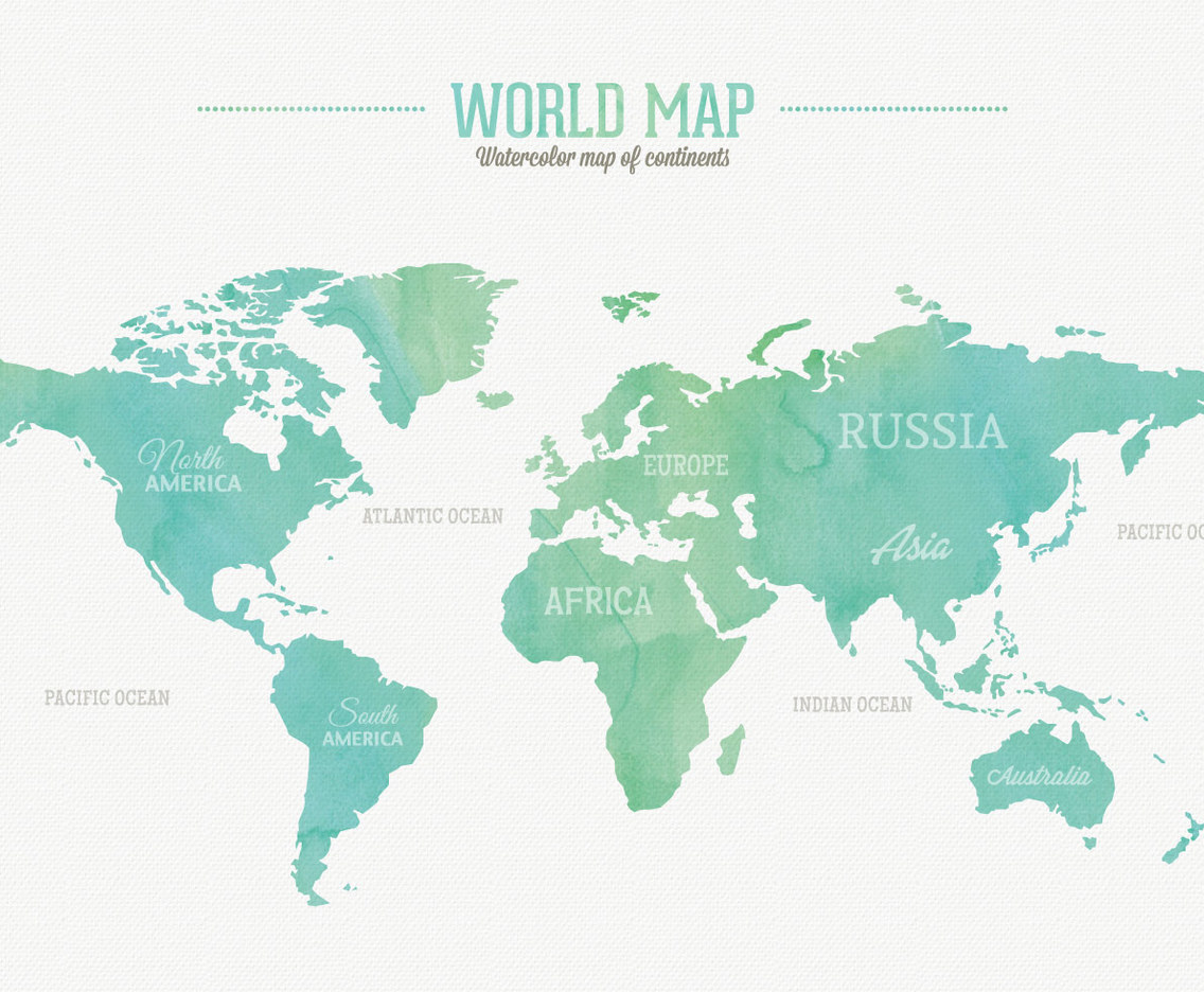 Watercolor world map vector art graphics freevector watercolor world map gumiabroncs Choice Image