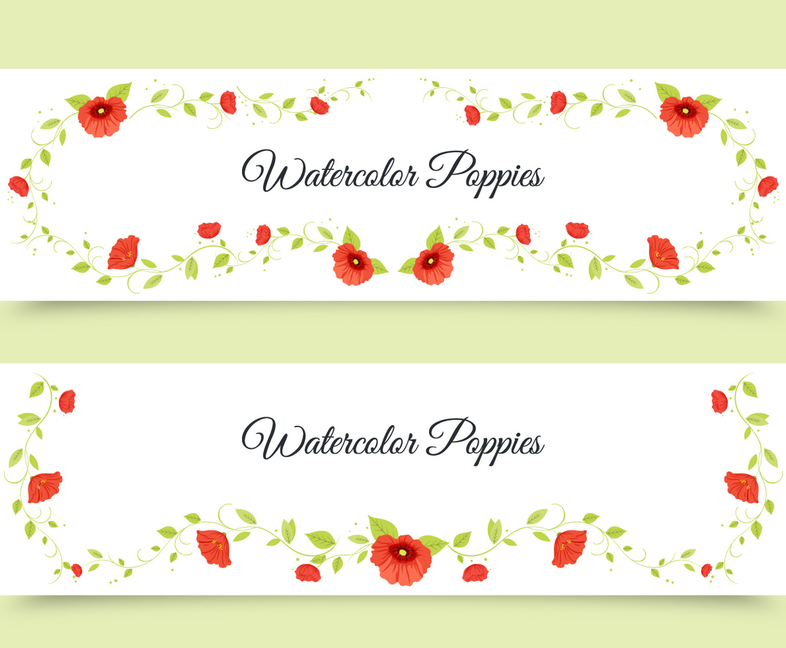 Watercolor Poppy Banners