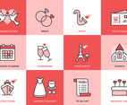 Wedding Flat Line Vector Icons