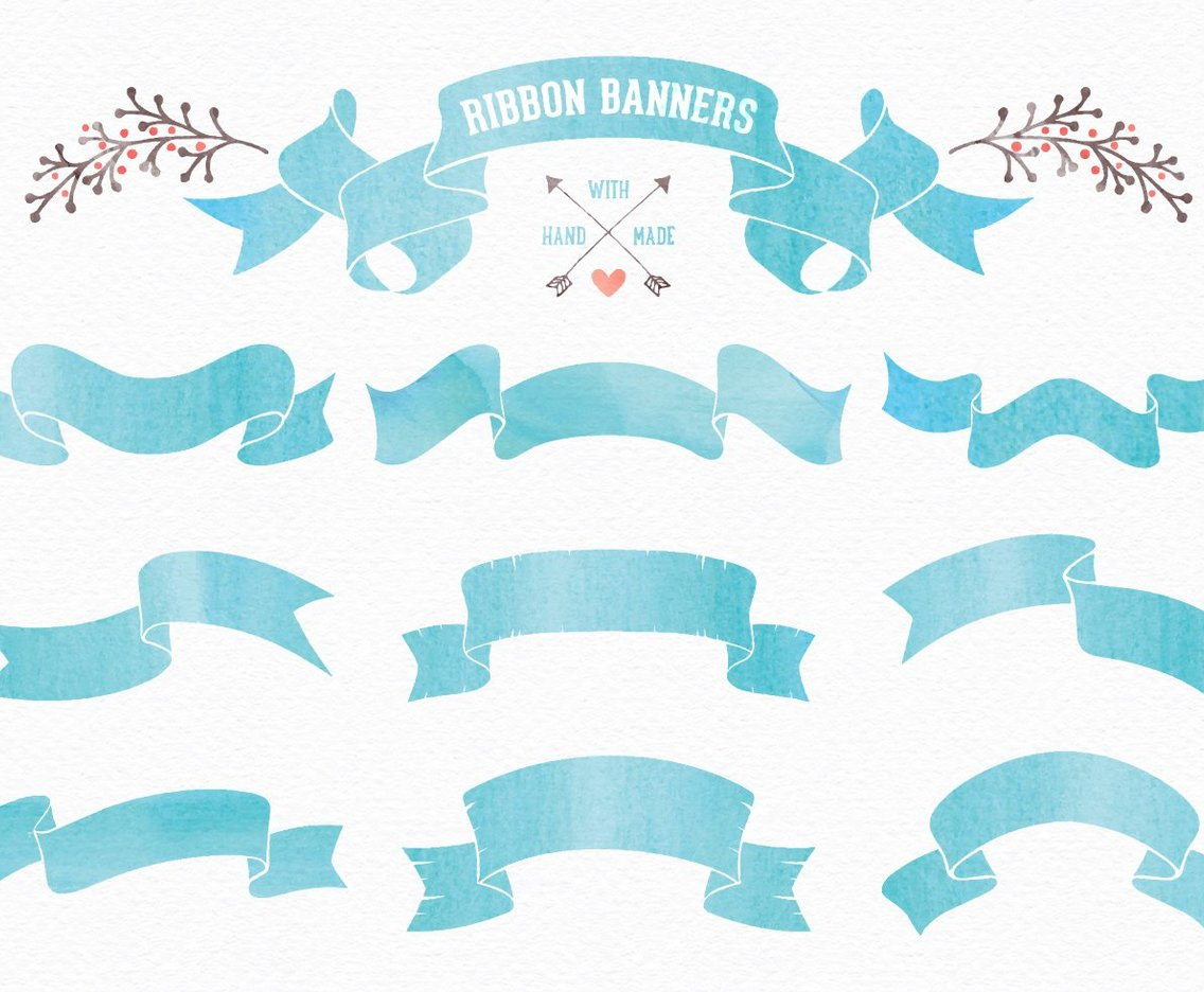 Watercolor Ribbon Banners