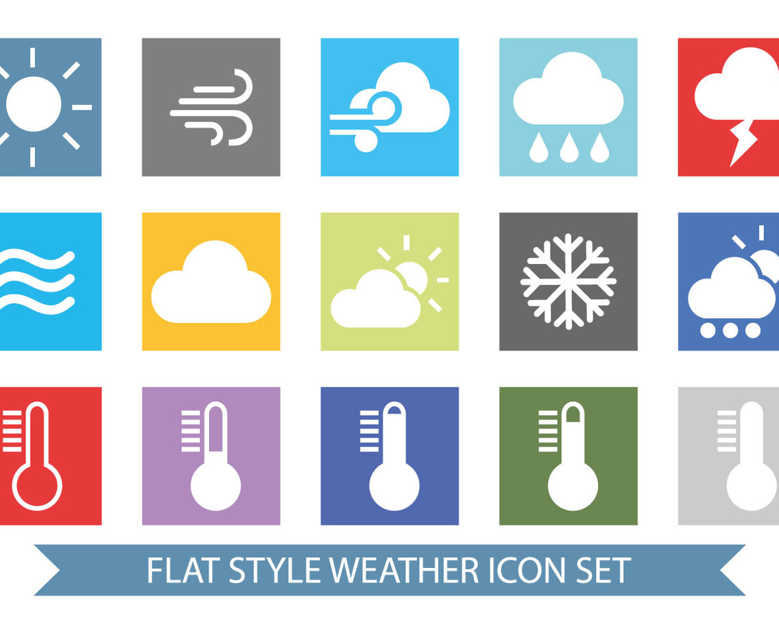 Flat Colorful Wetaher Icon Set