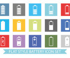 Flat Colorful Battery Icon Set