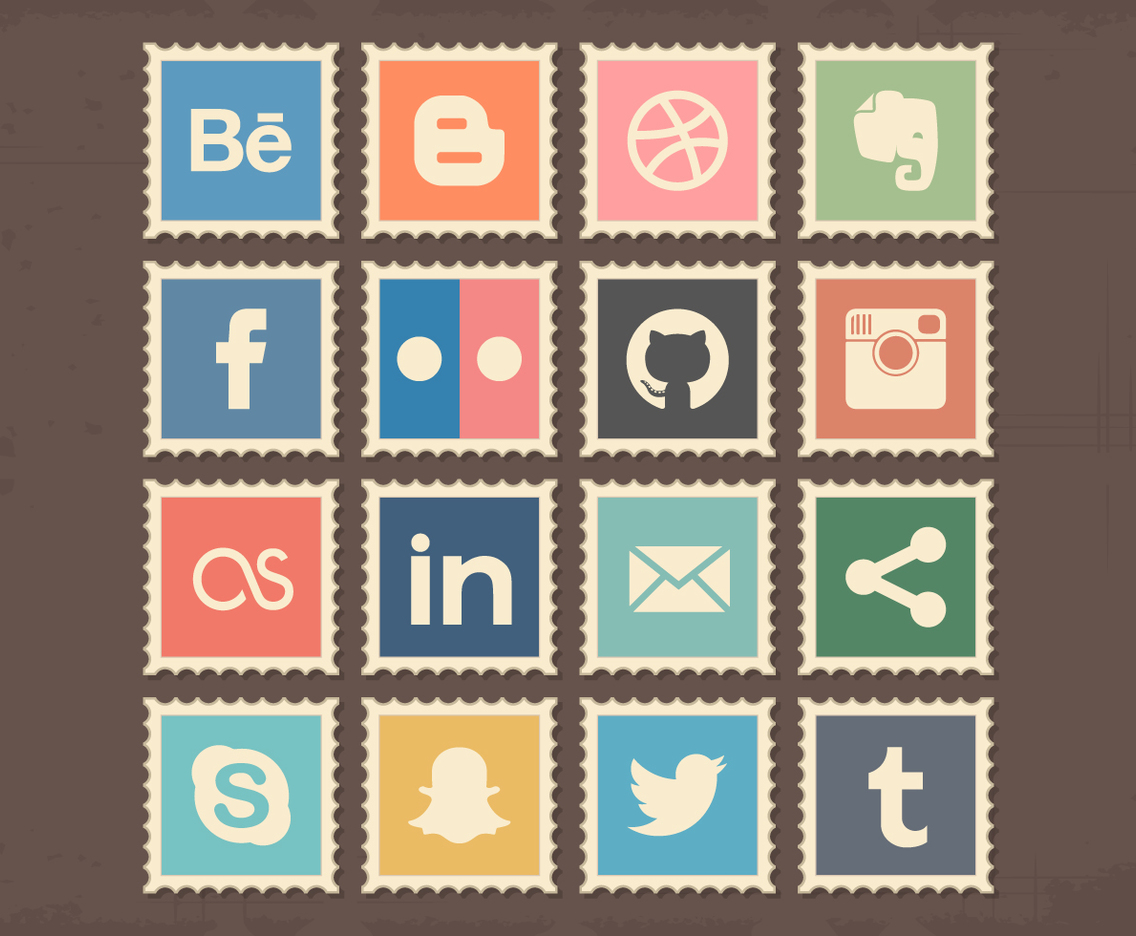 Retro Social Media Stamps Icons