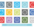 Flat Style Cute Emoticon Icon Set
