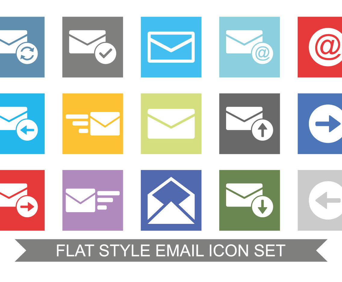 Flat Style Email Icon Set Vector Art & Graphics ...