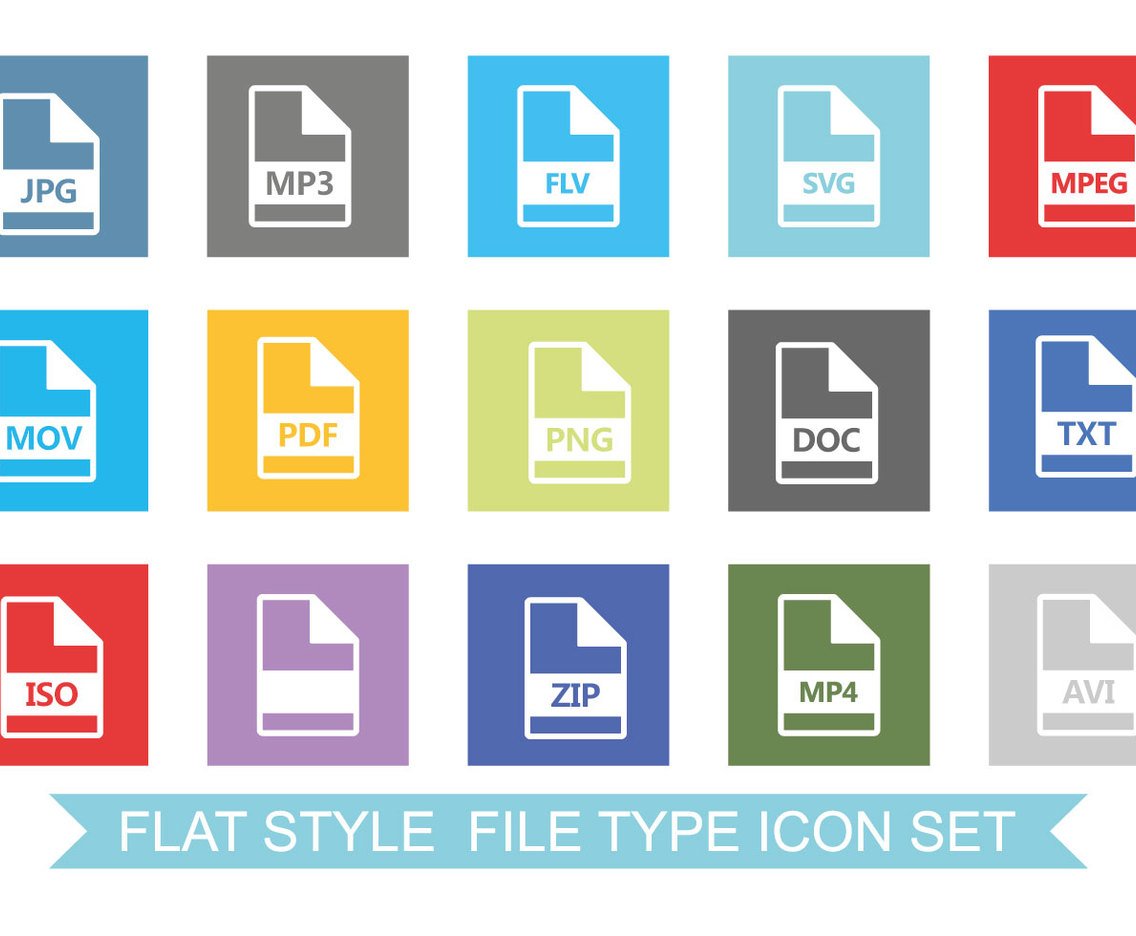 flat style file type icon set vector art graphics