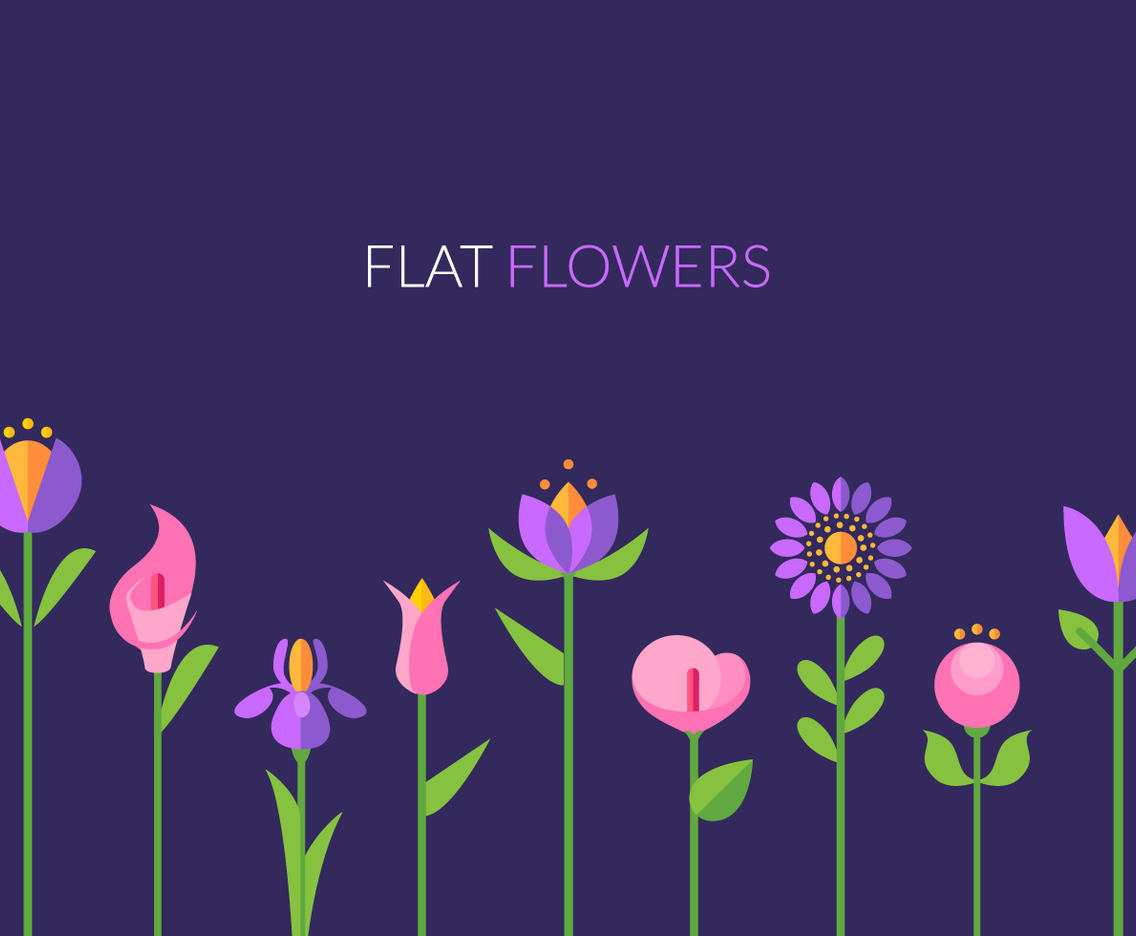 Flat Flowers Greeting Card