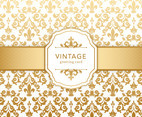 Golden Vintage Damask Greeting Card