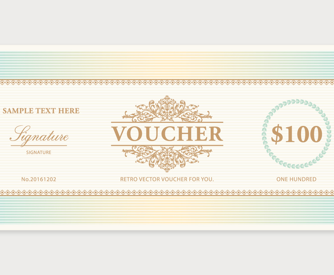 Vintage voucher template vector art graphics for Gift certificate terms and conditions template
