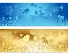 Blue and Gold Abstract Christmas Banners