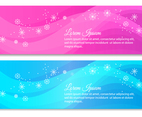 Pink and Blue Snowflake Vector Banners