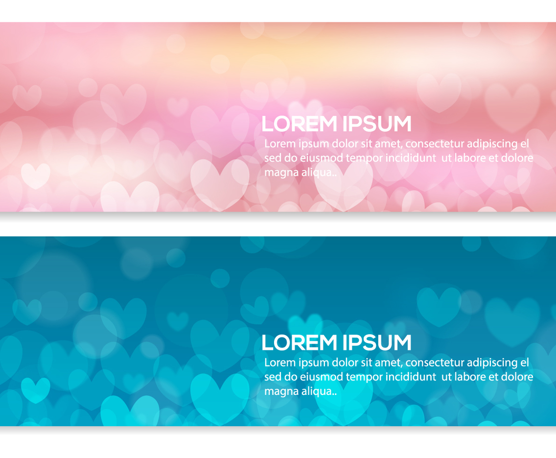 Beautiful Abstract Heart Bokeh Banners